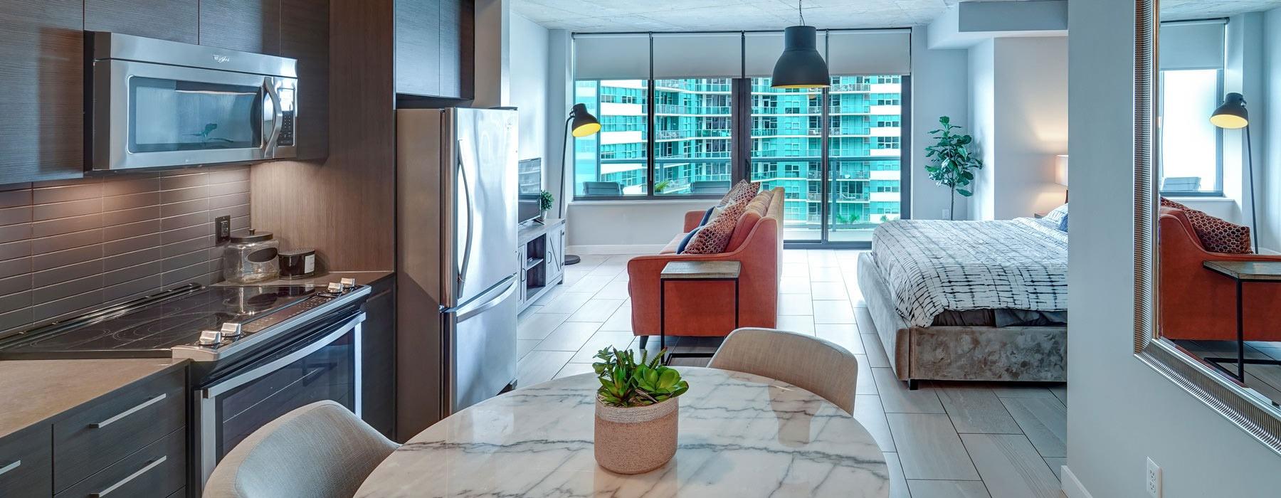 open layout of studio apartment