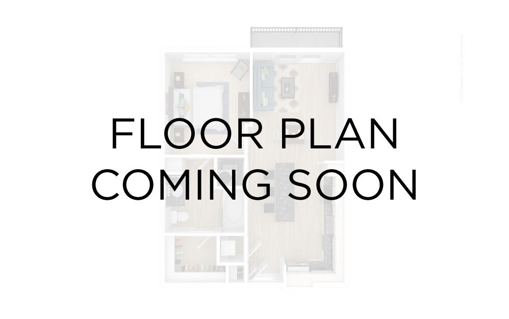 Unit 1A - Studio floorplan layout with 1 bath and 614 square feet.